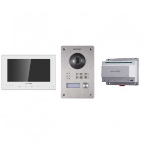 Kit interphone vidéo couleur 2 fils Hikvision DS-KIS701 - Blanc