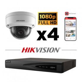 Kit vidéosurveillance 4 caméras IP dôme full HD 4MP NVR 1To