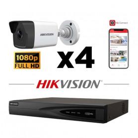 Kit vidéosurveillance 4 caméras IP tube full HD 2MP