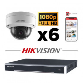 Kit vidéosurveillance 6 caméras IP dôme full HD 2MP