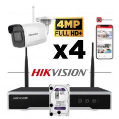 Kit vidéosurveillance Hikvision sans fil WIFI 4 caméras tube 4MP H265+ NK44W0H-1T(WD)